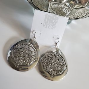 Silver Plated Ornate Statement Teardrop Earrings